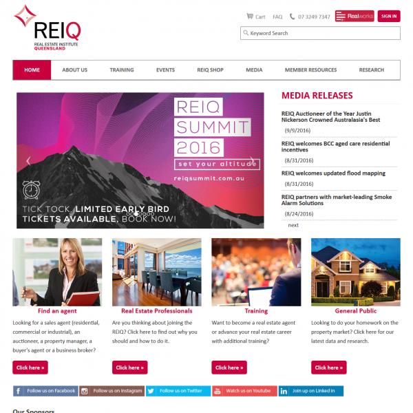 Real Estate Institute Queensland Website