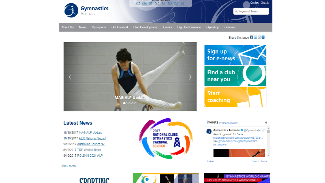 Gymnastics Australia Website
